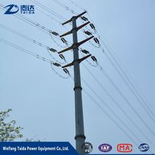 110Kv 132 Kv Electric Tapered Power Pole Galvanized Steel Cross Arm