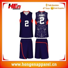 Hongen apparel Wholesale New Model Cheap Sublimated Youth Basketball set