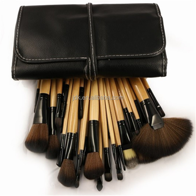 Ebay best seller makeup brushes 32 pieces make up brush set in pouch wood handle brushes makeup use factory price