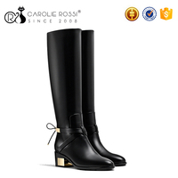 2016 fashion italian women black winter boots with gold buckle boots women genuine leather
