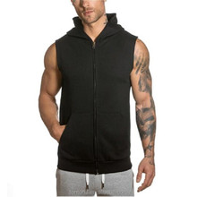 Custom Slim Fit Zip Up Men Hooded Gym Black Sleeveless Hoodie