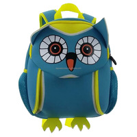 Qrose cute owl boys neoprene backpack soft school bag with breathable back