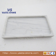 Natural Stone Bianco Carrara White Marble Food Fruite Tea Serving Trays Plate