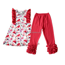 2018 Valentine's day baby girls sleeveless dresses match icing pants clothing set china clothes factory
