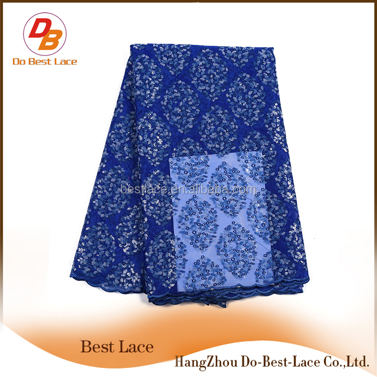 Latest Design As Per Customer Embroidered Net Cord Lace Dress Fabrics With Sequins