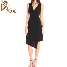 women sleeveless casual formal office dress ladies asymmetrical hems party dress
