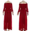 China Guangzhou Wholesale Maxi Red Chiffon off-shoulder dress