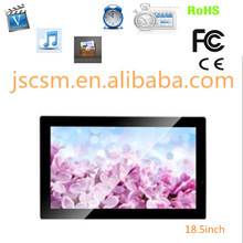 large size 18.5 inch digital photo frame high resolution support 1080P for indoor advertising