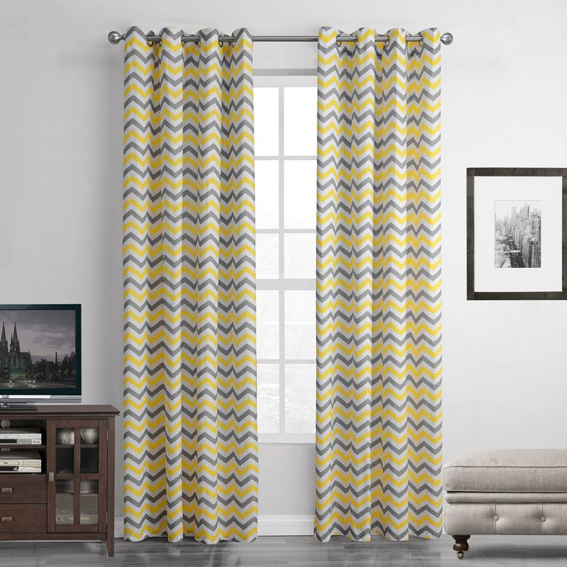 1-Piece Yellow Striped Abstract Blackout Curtain For Living Room Window Curtain For Bedroom Drapes Curtains Top With Eyelets