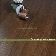 Dark carbonized color brushed bamboo flooring