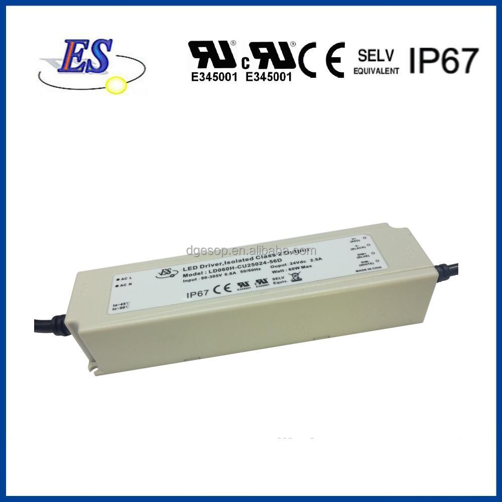 60W 24V 2.5A AC-DC Constant Current/Voltage Dimmable LED Driver with 1-10V Dimming,UL CUL CE IP67