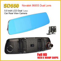 2016 New 140 Degrees Rearview Reverse Dual Lens novatek nt96655 rear view camera Car DVR Camera