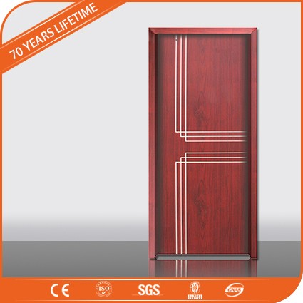 Front Door designs Wood Plastic Composite Red Door with door pvc pattens