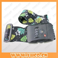 Custom Printed polyester luggage suitcase strap belt with password lock