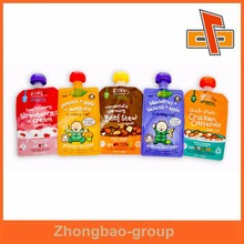 Leak proof zipper reusable baby food spout pouch for juice drink packaging