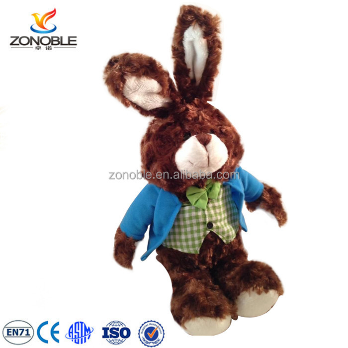 High quality easter gift plush easter bunny rabbit with dress custom plush brown stuffed bunny toy