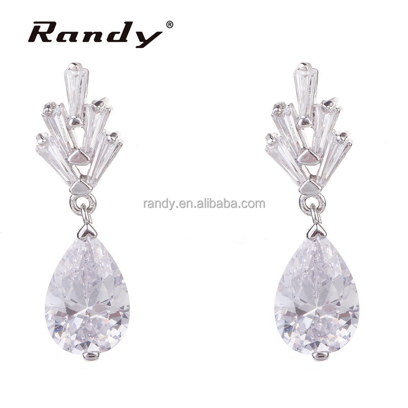 Wholesale Online Small Dangling Earring Jewel CZ Stone Ladies Ear Rings