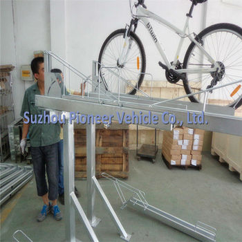 strong and durable two tier cycling rack with hot dip galvanizing