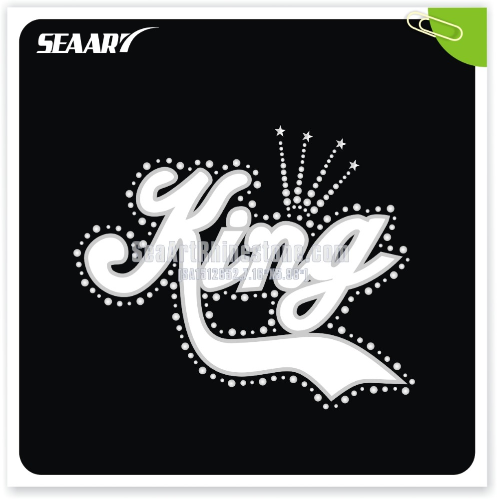 KING Sequin Applique Design with Clear Rhinestone For Garment Accessories