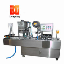 Factory price automatic rotary plastic roll film thermoforming water milk juice jelly cup filling sealing machine
