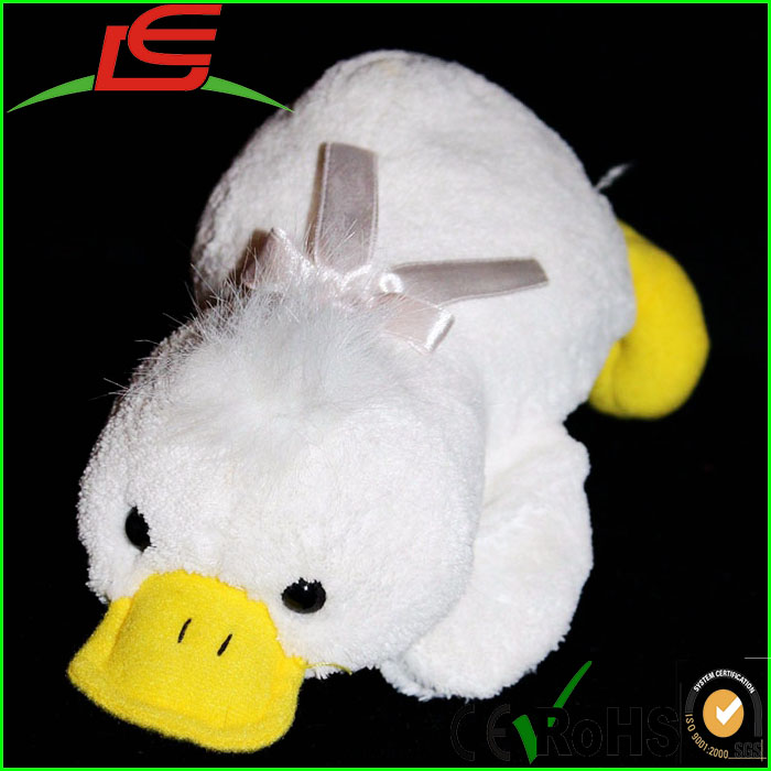 "Fantastic Creations Plush White Chenille PLATYPUS DUCK 10"" Toy Stuffed Animal"