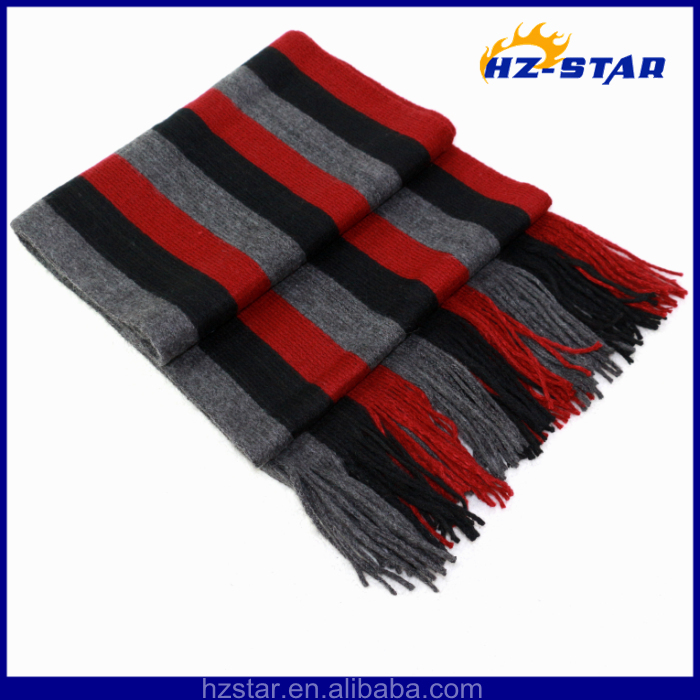 HZW-11028-3 Stripe fringe handsome man fashion magnetic elastic young tube scarf
