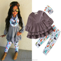 grey floral high quality ruffle new fasion kids' wear hot sale girls' clothing for spring and fall cotton kids clothes