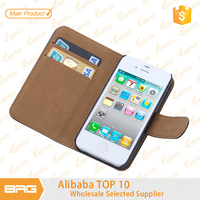 BRG Top Quality Leather Flip Cover For iPhone 4 With Credit Card Holder