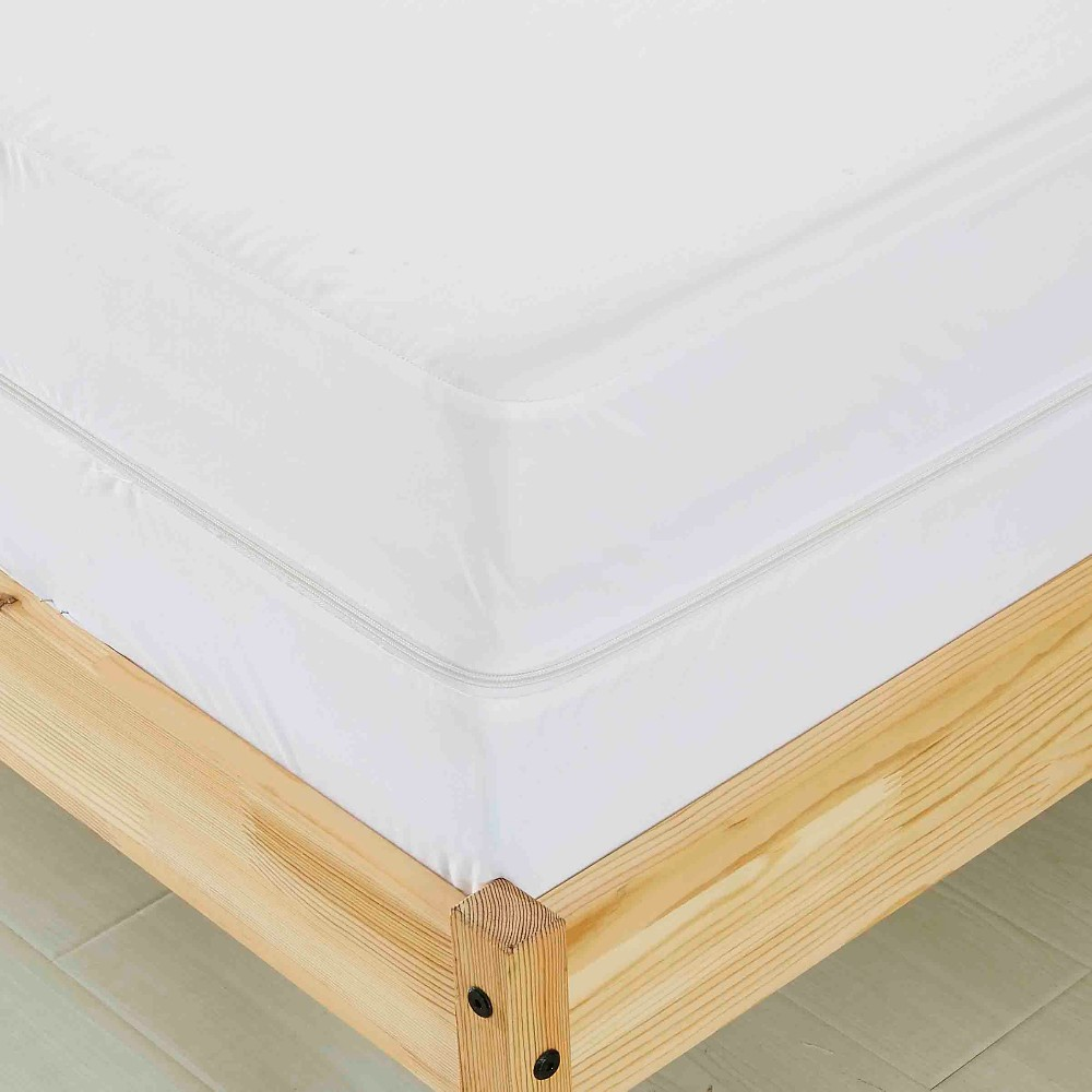 Soft 100% polyester Knitted White color mattress protector zipper Fitted full cover mattress encasement
