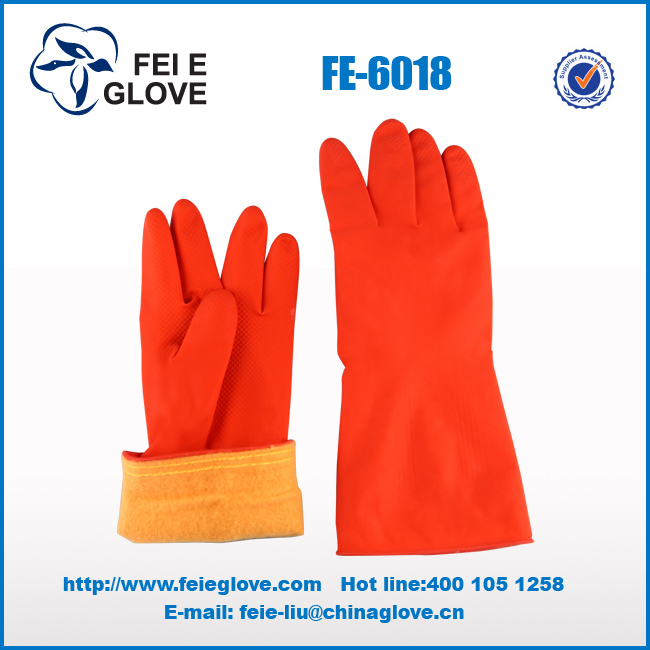 Red color warm cotton latex gloves
