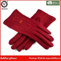 Women's Cute Flower Rosette Beaded Wine Red Wool Dress Gloves for Ladies and Girls