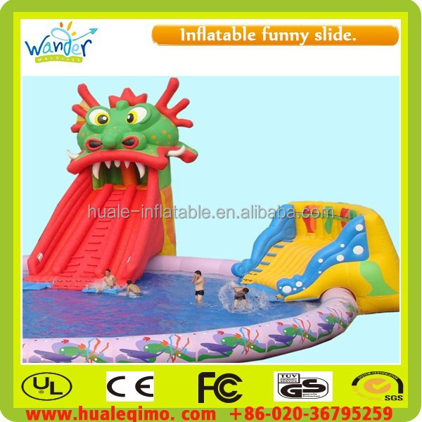 large inflatable adult swimming pool with slide