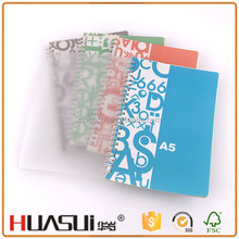 Top quality cheap custom 60 sheets paper spiral clear cover notebook