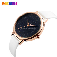 slim white color genuine leather strap watches ladies branded for beautiful fashion women