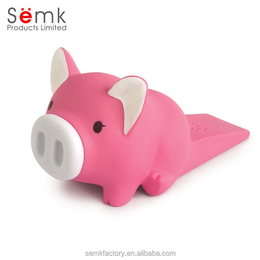 High quality custom pig shape promotional gifts plastic cabinet sliding door stopper wedge