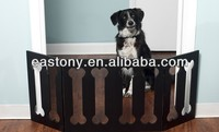Adjustable Three-Panel Black Wooden Pet Gates with Bone Decor