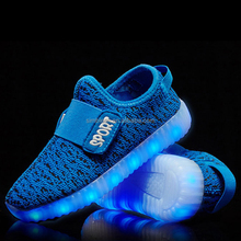 Customize design kids breathable buckle strap led light sport running shoes