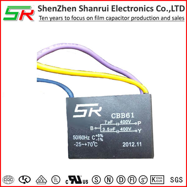 A class heat resisting ceiling fan capacitor 3 wires 3.5uf + 7 uf 400v wiring diagram RoHS compliant