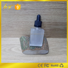 square shape 30ml clear matte glass dropper bottle with child proof cap and rubber stopper with glass pipette
