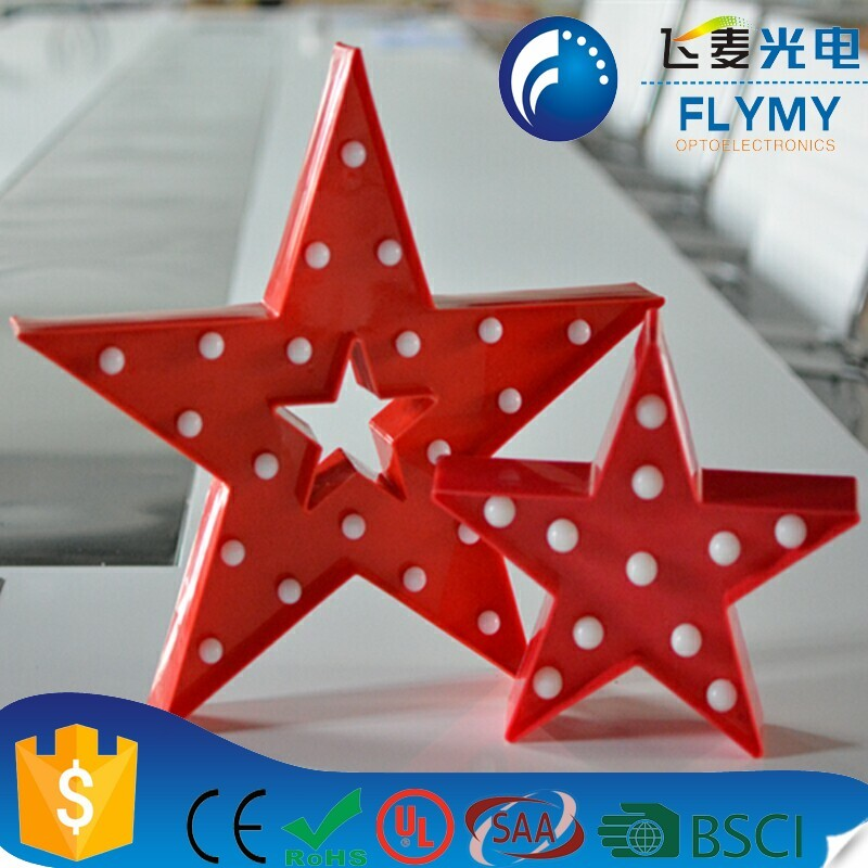 Decorative Light Star Shape LED Plastic Marquee Light Battery Operated LED Marquee Sign for Festival Christmas