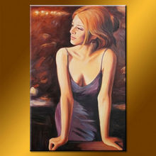Wholesale Handmade Lady In Bar Painting