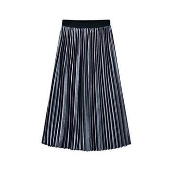AliExpress 2018 spring new women's solid color and put the pleated skirt gold velvet skirt skirt