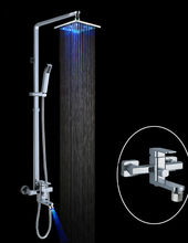 top quality led rainfall bath shower mixer set,exposed installation with sliding bar