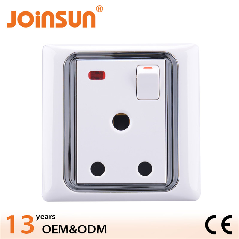 15A wall electrical switch and socket with light,male power plug
