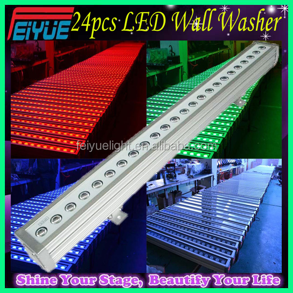 Super Brightness IP65 Outdoor Waterproof Slim Bar PRO LED Wash 4in1 RGBW 24*10w DMX Linear LED Wall Washer