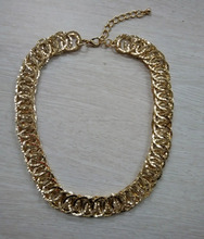 Latest Fashion Jewelry Metal Chains Chunky Hammered Chain Gold Necklace