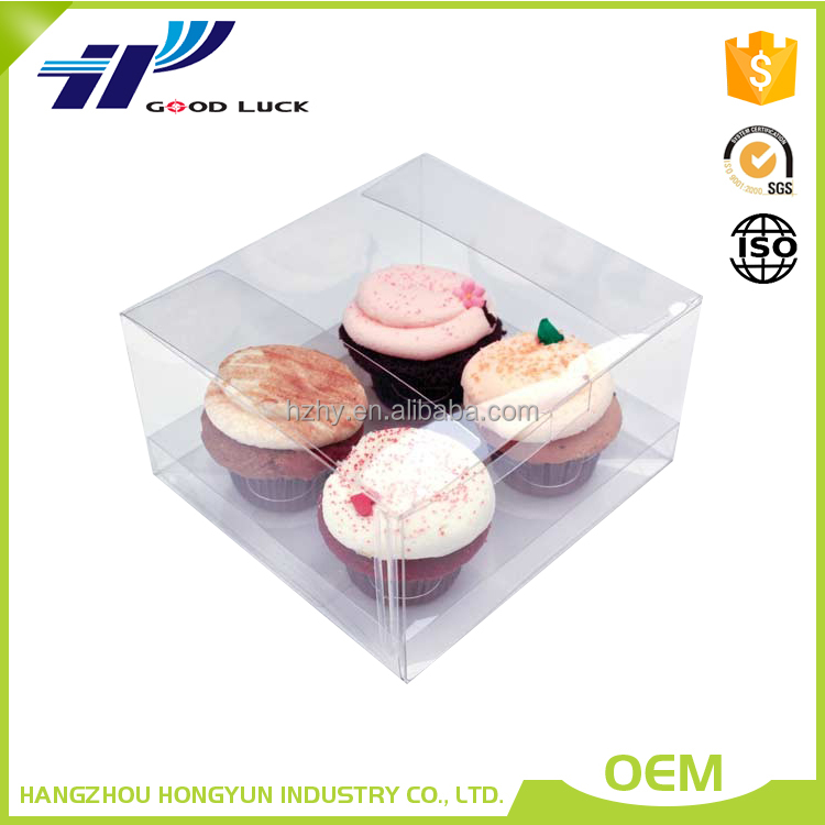 Custom Printed transparent clear cupcake birthday plastic cake box