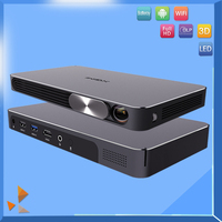 Mini led android 4.4 smart phone projector 1080p with bluetooth battery 13600mah
