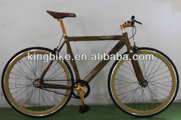 aluminium frame fixed gear bike wooden style fixie bicycle super cool