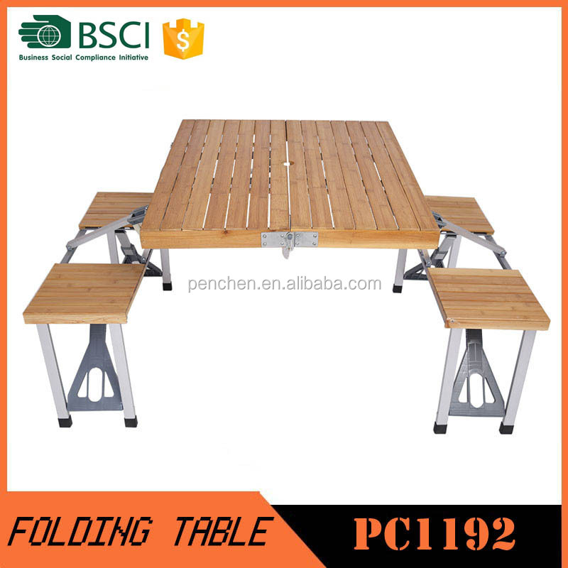 Outdoor Table Bamboo Cheap Folding Dining Table And Chairs Set